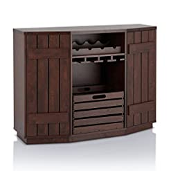 Home Bar Cabinetry ioHOMES Lopez Transitional Plank-Style Buffet Server with Removable Crate, Dual Cabinets and Four Bottles Wine Rack… home bar cabinetry