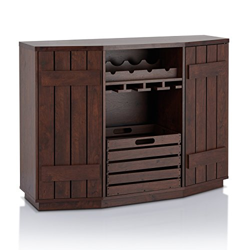 ioHOMES Lopez Plank Style Server with Removable Crate, Vintage Walnut