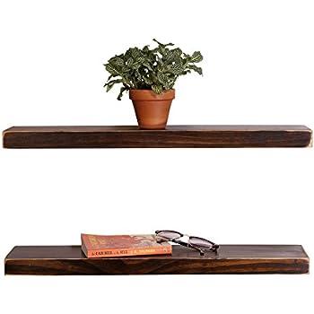 DAKODA LOVE Weathered Edge Floating Shelves, USA Handmade, Clear Coat  Finish, 100%