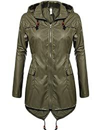 Meaneor Women's Fishtail Waterproof Raincoat Dot Cute Outdoor Hooded Rain Jacket