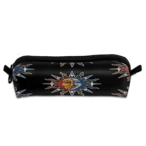 SSFEQ Celestial Mosaic Sun Moon Multi-Purpose Polyester Fiber Pencil Case Student Stationery Coin Bag