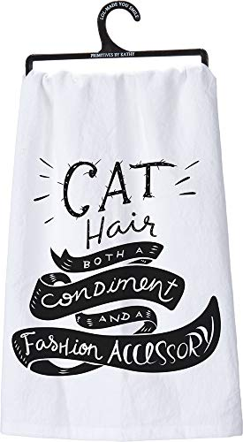 (Primitives by Kathy LOL Made You Smile Tea Towel, cat Hair)