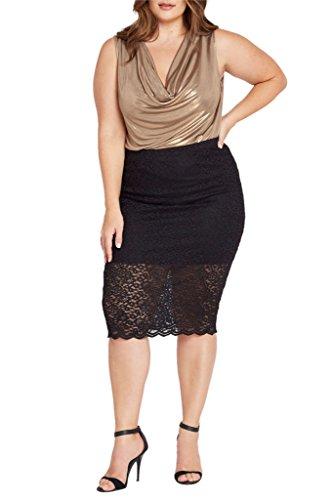 Womens Fashion Trendy Lace Floral Pattens Tea Length Pencil Skirt Plus Size USA BK 2XL