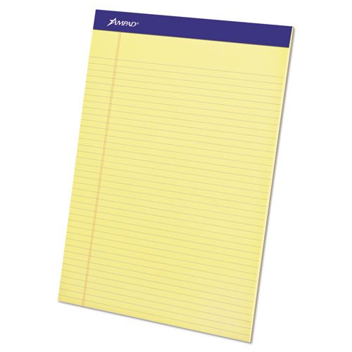 Perforated Writing Pad, 8 1/2 x 11 3/4, Canary, 50 Sheets (7 Dozens)