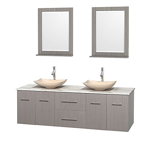 Wyndham Collection Centra 72 inch Double Bathroom Vanity in Grey Oak, White Carrera Marble Countertop, Arista Ivory Marble Sinks, and 24 inch Mirrors price