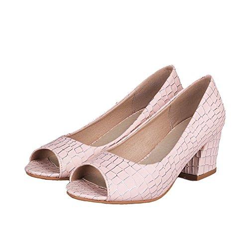 AllhqFashion Womens Kitten-Heels Solid Pull-On PU Open-Toe Pumps-Shoes Pink mEcVQj58z