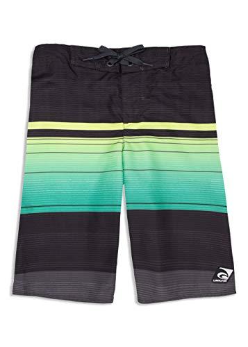 LAGUNA Boys Sundown Ombre Stripe Boardshorts Swim Trunks, UPF 50+, Black/Green, 18/20 (Laguna Stripe)