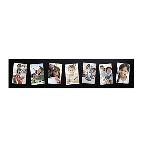 Adeco 7 Openings Black Wood Wall hanging Collage Picture Photo Frame - Made to Display Seven 5x7 Photos by Adeco
