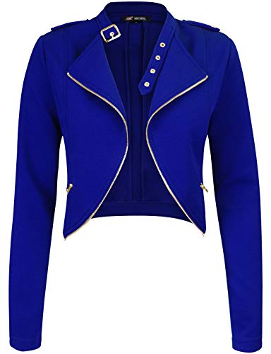 Michel Womens Fleece Jacket Classic Crop Rider Zip UP Jacket ()