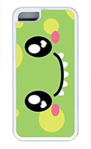 LJF phone case iphone 5/5s case, Cute Monster Face iphone 5/5s Cover, iphone 5/5s Cases, Soft Whtie iphone 5/5s Covers