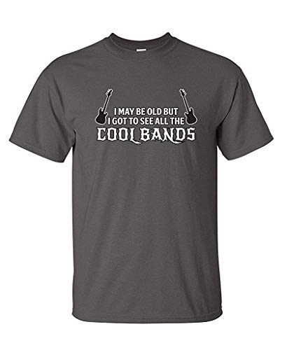 Wedisula I May Be Old, But I Got to See All The Cool Bands Funny Beefy Tshirt Plus Size 3XL Black ()