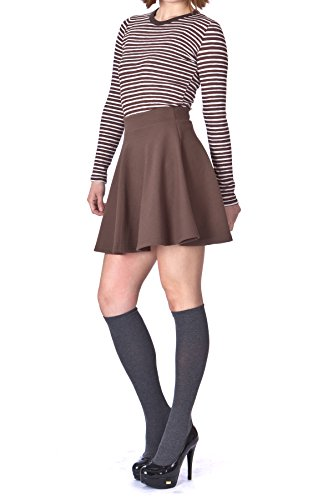 Basic Solid Stretchy Cotton High Waist A-line Flared Skater Mini Skirt (M, Brown) ()