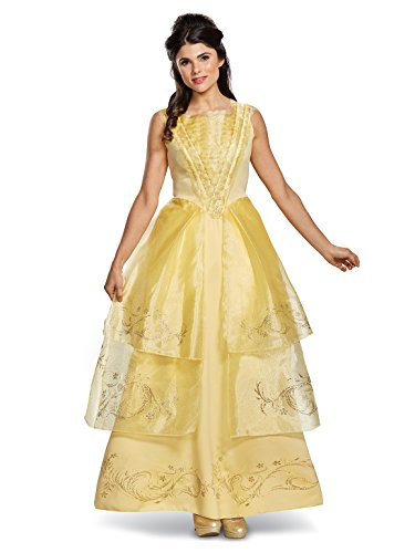 (Disney Women's Belle Ball Gown Deluxe Adult Costume, Yellow,)