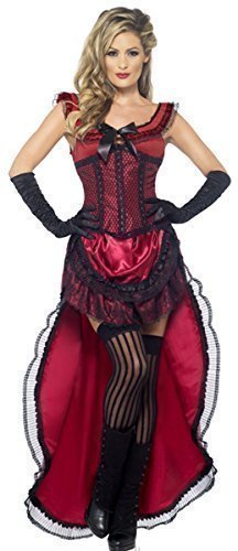 Ladies Red or Pink Sexy Saloon Girl Burlesque Brothel Babe Wild West Burlesque Halloween Fancy Dress Costume Outfit UK 8-18 (UK 8-10, -