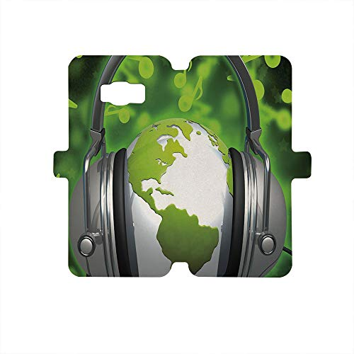 Painted Galaxy S8 Case, Premium PU Leather Wallet Flip Protective Case,World,World of Music Themed Composition DJ Headphones Musical Notes and Earth Globe Decorative,Lime Green Grey