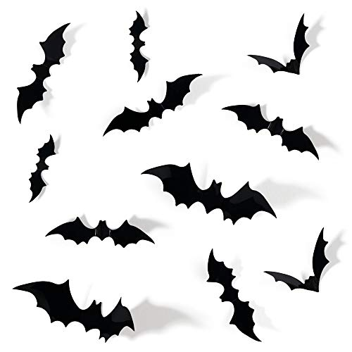 Halloween Bat Decoration (Coogam 60PCS Halloween 3D Bats Decoration, 4 Different Sizes Realistic PVC Scary Bat Sticker for Home Decor DIY Window Decal Bathroom Indoor Hallowmas Party)