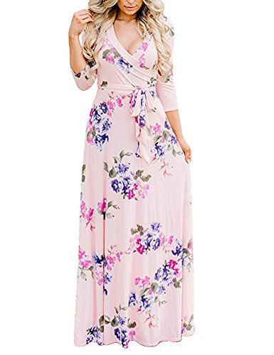 3/4 Sleeve Faux Wrap - YOUCOO Womens Bohemian 3/4 Sleeve Faux Wrap Maxi Dress with Belt