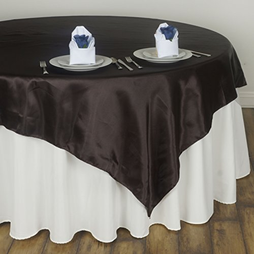 BalsaCircle 5 pcs 60x60-Inch Chocolate Brown Satin Table Overlays - Wedding Reception Party Catering Table Linens Decorations ()