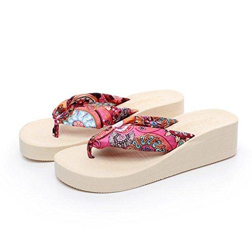 Mujeres Señoras Sandalias Los deslizadores del satén del paño de la manera de los 5cm Las sandalias femeninas del verano calzan los zapatos con 4 colores Cómodo ( Color : 1001 , Tamaño : 38 ) 1001