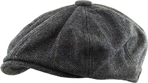 KBW-310 BLK L/XL Ascot Ivy Button Newsboy Hat Applejack Wool Blend Hat -