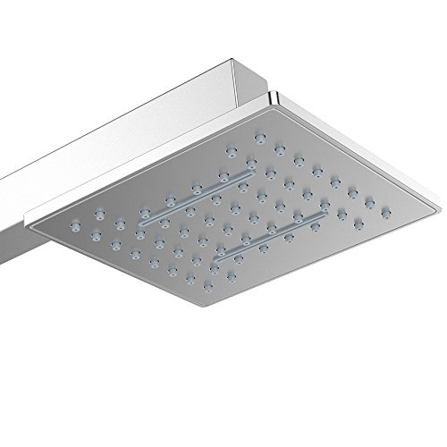 """Price comparison product image Rainfall and Waterfall Shower Head - ALZN Square Ultra Thin Stainless Steel 8 Inch Shower Head with Silicone Nozzle Easy to Clean and Install (8"""")"""