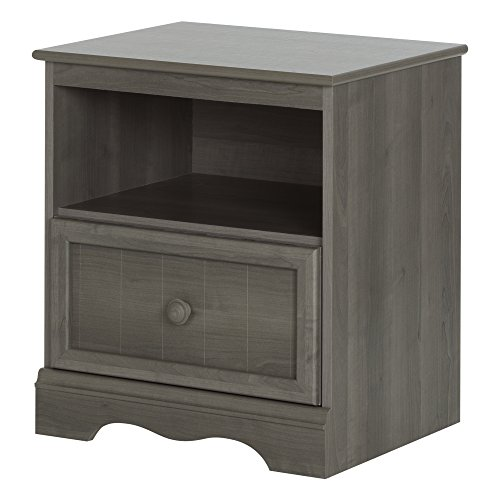 South Shore Savannah 1-Drawer Nightstand, Gray Maple (1 Drawer Side Table)