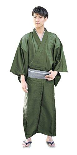 KYOETSU Men's Japanese Kimono Komaro Summer Washable (Small, Olive) by KYOETSU