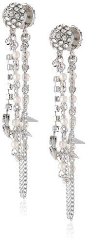 Betsey Johnson Pretty Punk Pearl Spike Multi-Chain Front Back Linear Drop Earrings