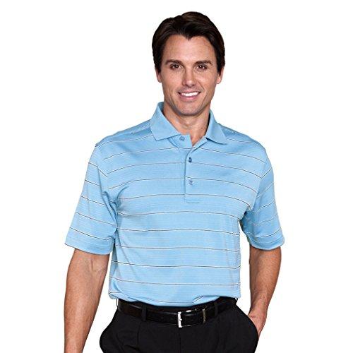 Monterey Club Mens Dry Swing Block Stripe Texture Polo Shirt #1632 (Ash Blue/White, Large)