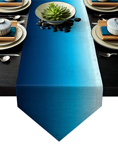 Z&L Home Linen Burlap Table Runner Dresser Scarves, Gradient Blue Color Table Runners for Dinner Holiday Party, Wedding, Events, Kitchen Decor Deep Ocean 13x90Inch