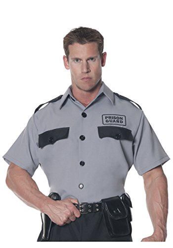 Underwraps Men's Prison Guard Shirt, Grey/Black, One (Guard Costume)