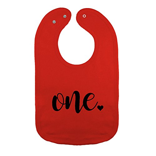 We Match! Unisex-Baby - One - First Birthday Thick PREMIUM 2-Ply Cotton Baby Bib With Snaps (Red)