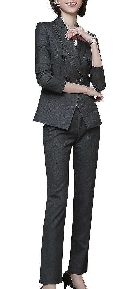 Greykz LISUEYNE Women's Elegant 2 Pieces Stripe Office Lady Work Blazer Suits Slim Fit Business Suits for Women