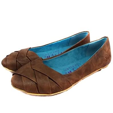 f77135fe7 Ladies Blowfish Nectarine Tan Brown Flat Faux Leather Woven Ballet Pumps  Shoes (UK 4): Amazon.co.uk: Shoes & Bags