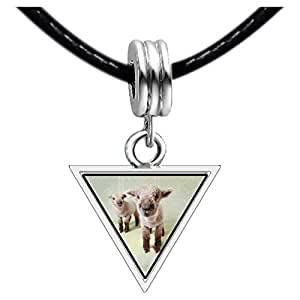Chicforest Silver Plated Baby Lambs Photo Triangle Charm Beads Bracelets European Bracelets Compatible