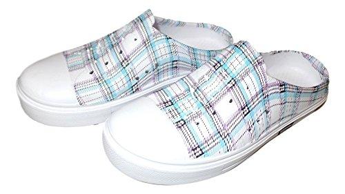 101 Plage Mesdames Impression Eau Sneaker Sabots Bleu Clair Plaid