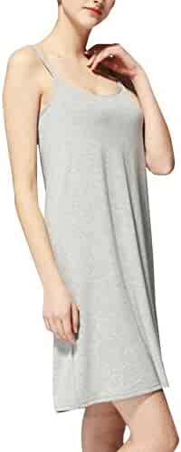 cf3ebde2b0 Vocni Women Full Slips Straight Dress Nightwear with Built-in Shelf Bra