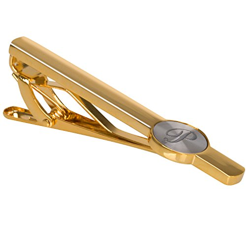 "Men Tie Bar Clip Clasp 2 3/8"" Inches Brass 18K- gold-plated Stainless 26 Letters A-Z (golden-P)"