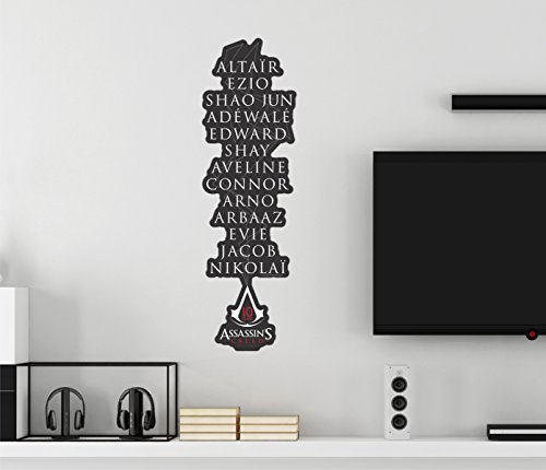 Assassin's Creed 10 Years Character Names Gaming Wall Decal Peel & Stick Removable Vinyl (Assassin's Creed Names)