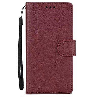 Fundas y estuches para teléfonos móviles, Caso para el iphone 7 de la manzana más la caja del sostenedor de tarjeta de la cubierta de 7 casos con el cuero lleno 6s 6s 6 de la PU ( Color : Rojo oscuro  Blanco