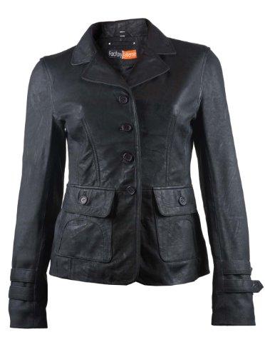 FactoryExtreme Babylonia Womens Black Leather Blazer, Small, Black by FactoryExtreme