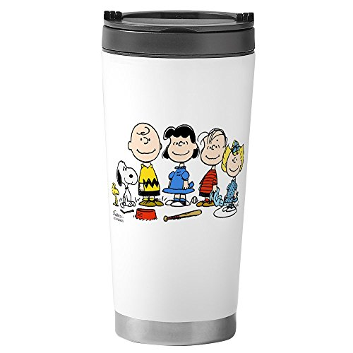 CafePress - The Peanuts Gang Stainless Steel Travel Mug - Stainless Steel Travel Mug, Insulated 16 oz. Coffee Tumbler (Peanuts Gang Coffee Cup)