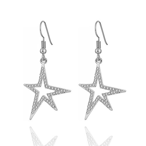 Dangle Earrings for Women, Shining Star Drop Earring Gold or Silver Anti-allergy Earring with CZ Crystal (Silver Plated Shining Star) ()