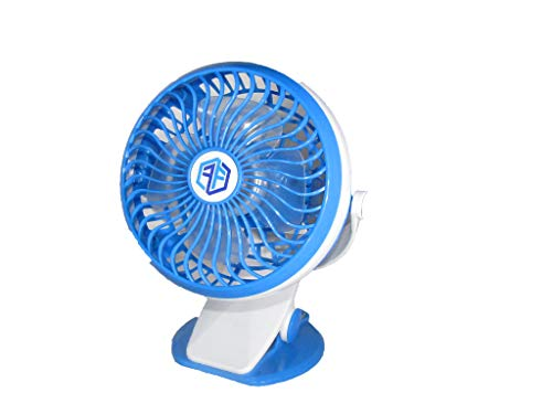 FreeFlo Portable Mini Clip On Fan For Use At Home Office Gym Dorm Room Outdoors Baby Stroller Or Anywhere Battery And USB Powered (Blue) ()