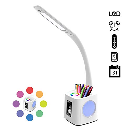 Port Pen - Table Lamp with USB Charging Port&Pen Holder, Dimmable Desk Lamp with Calendar&Clock&Thermometer, Children's Night Light for Student Study Reading Light