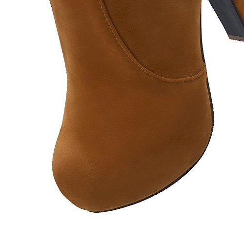 Allhqfashion Women's Frosted Zipper Closed Round Toe High-Heels Low-top Boots Camel cC5KGCaQ