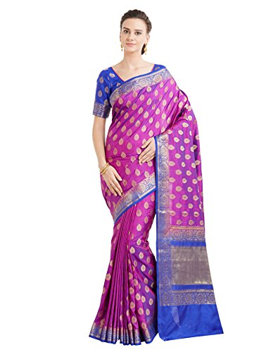 Viva N Diva Sarees for Women's Banarasi Shaded Purple Colour Banarasi Art Silk (Two Tone Silk) Saree with Un-Stiched Blouse Piece,Free Size
