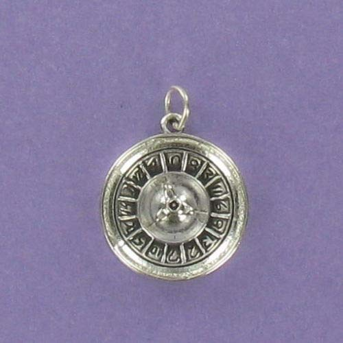 Pendant Jewelry Making Roulette Wheel Sterling Silver for Bracelet Gambling Luck Spin Las Vegas ()