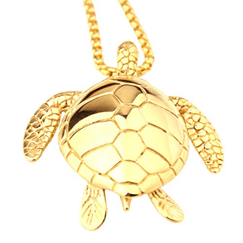 - Ineffable Sea Turtle Pendant Chain Stainless Steel Jewelry Charm Pendant Necklaces Women Men Gifts (Gold)