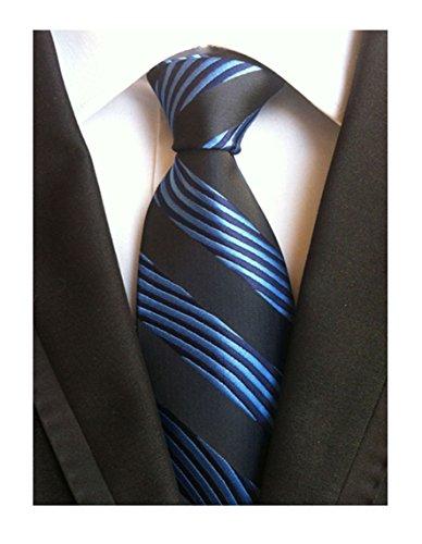 Secdtie Men's Blue Black Striped Jacquard Woven Silk Tie Formal Necktie LUD23